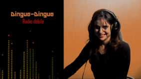 illustration affiche DINGUE-DINGUE Radio débile, photo Personne, femme en train de rire, humour