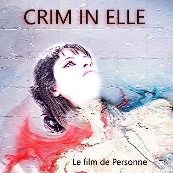 affiche CRIM IN ELLE avec montage, peinture de Personne allongée, en sang