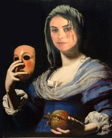 image peinture Personne masque à la main