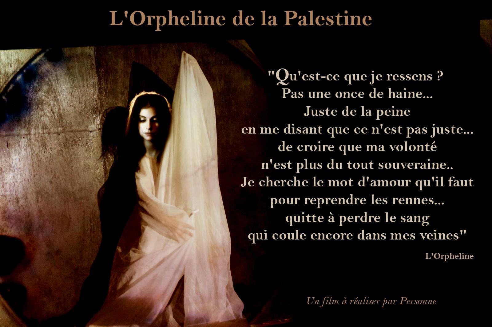 photographie affiche film L'orpheline de la Palestine avec Personne en tenue blanche