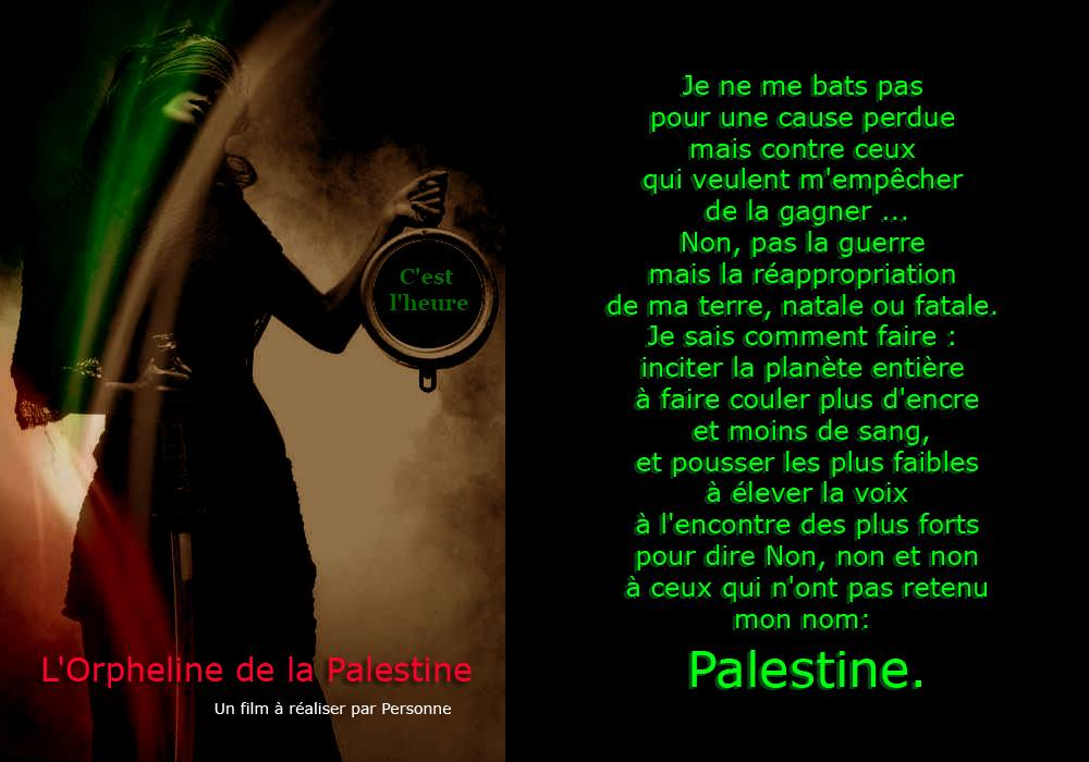 photographie affiche film L'orpheline de la Palestine avec Personne tenant un sabre à la main droite et une pendule à la gauche et texte explicatif